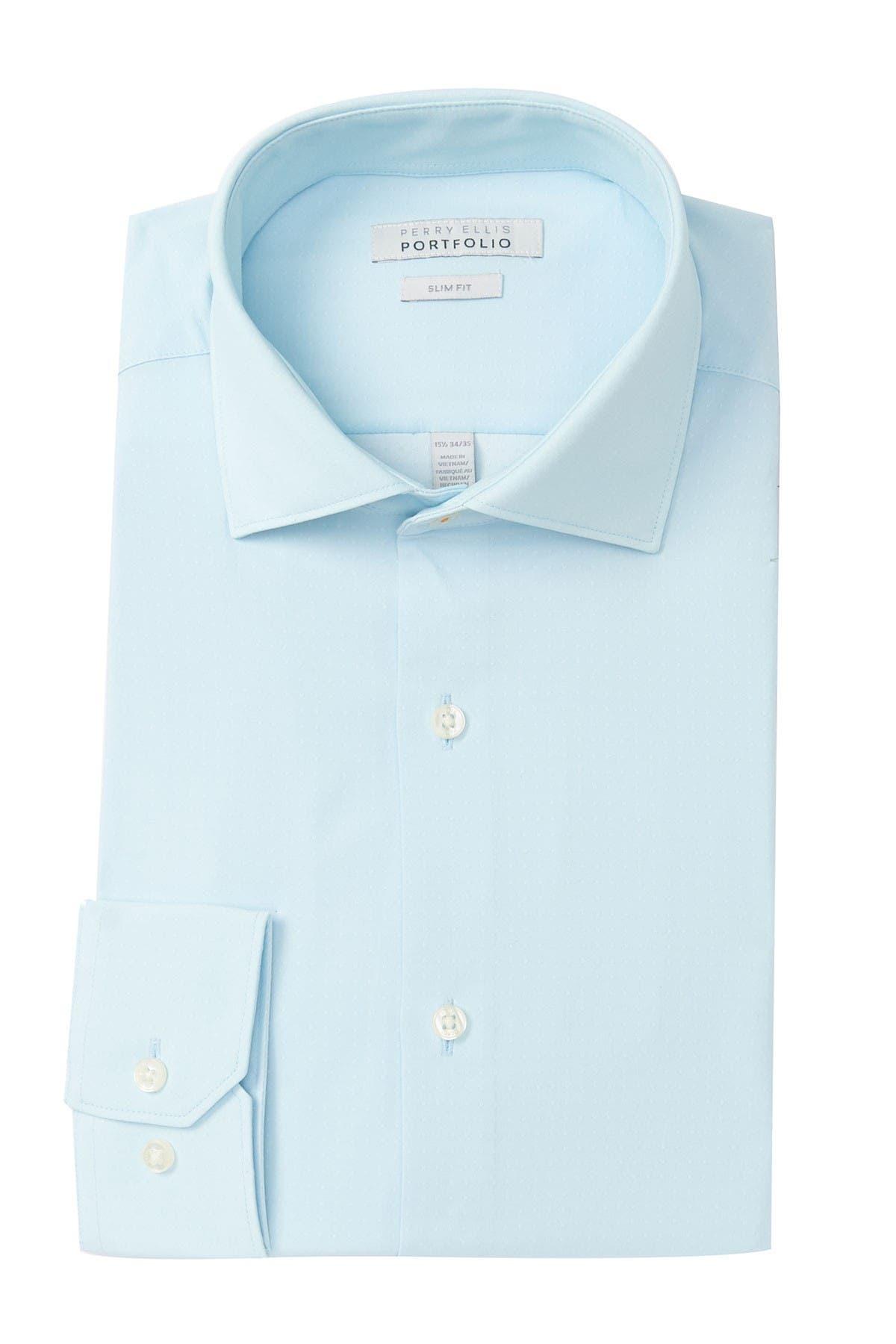 Image of Perry Ellis Slim Fit Dobby Dress Shirt