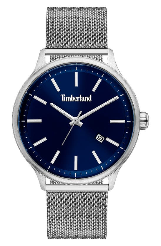 Timberland Men's Stainless Steel Mesh Bracelet Watch 45mm In Silver