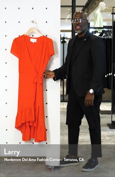 Textured Stripe Chiffon Wrap Dress, sales video thumbnail
