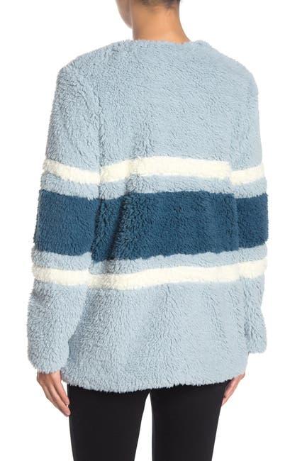 Image of Woven Heart Wubby Striped Faux Shearling Jacket