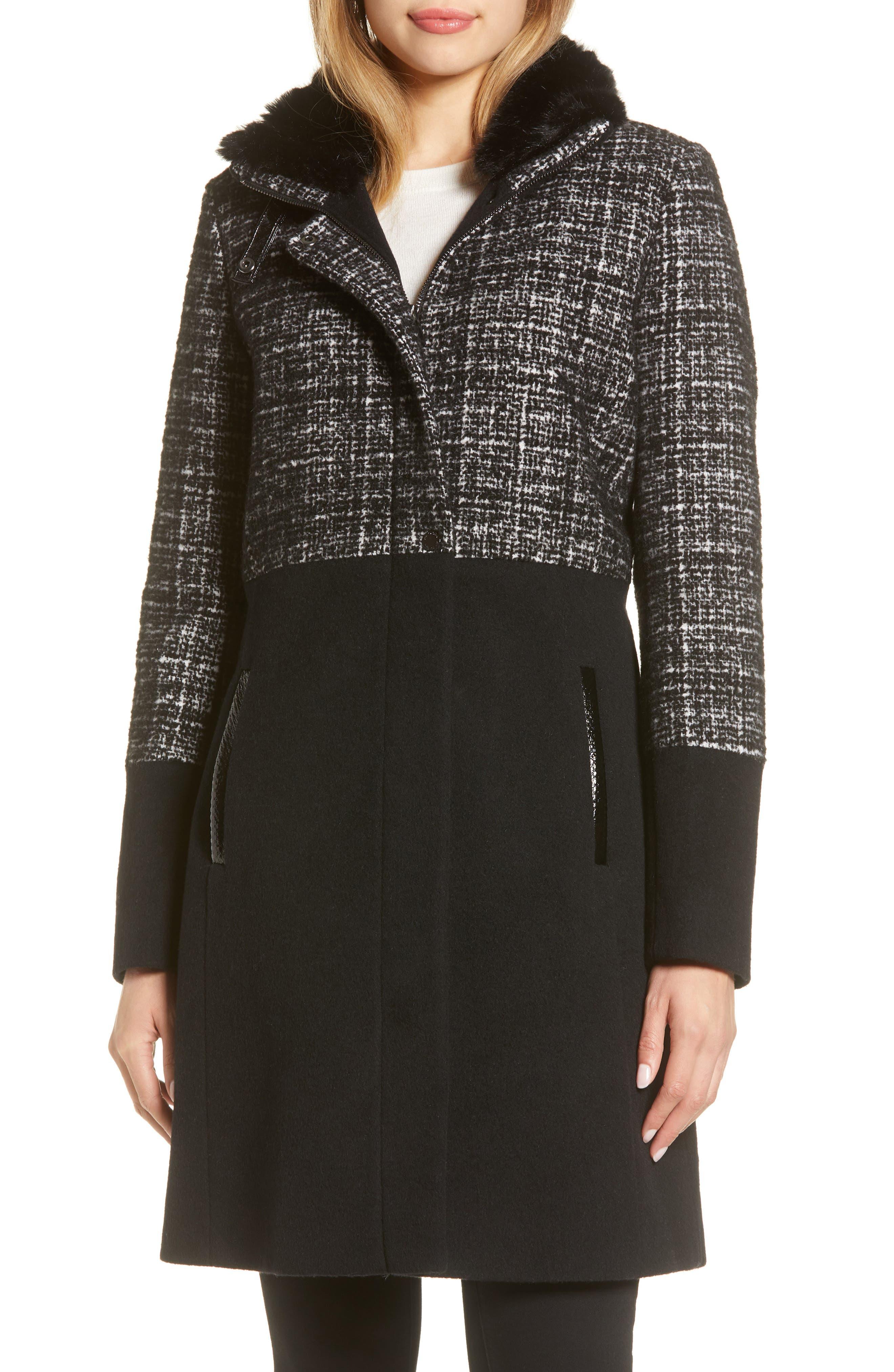 Image of Via Spiga Mixed Media Faux Fur Stand Collar Coat