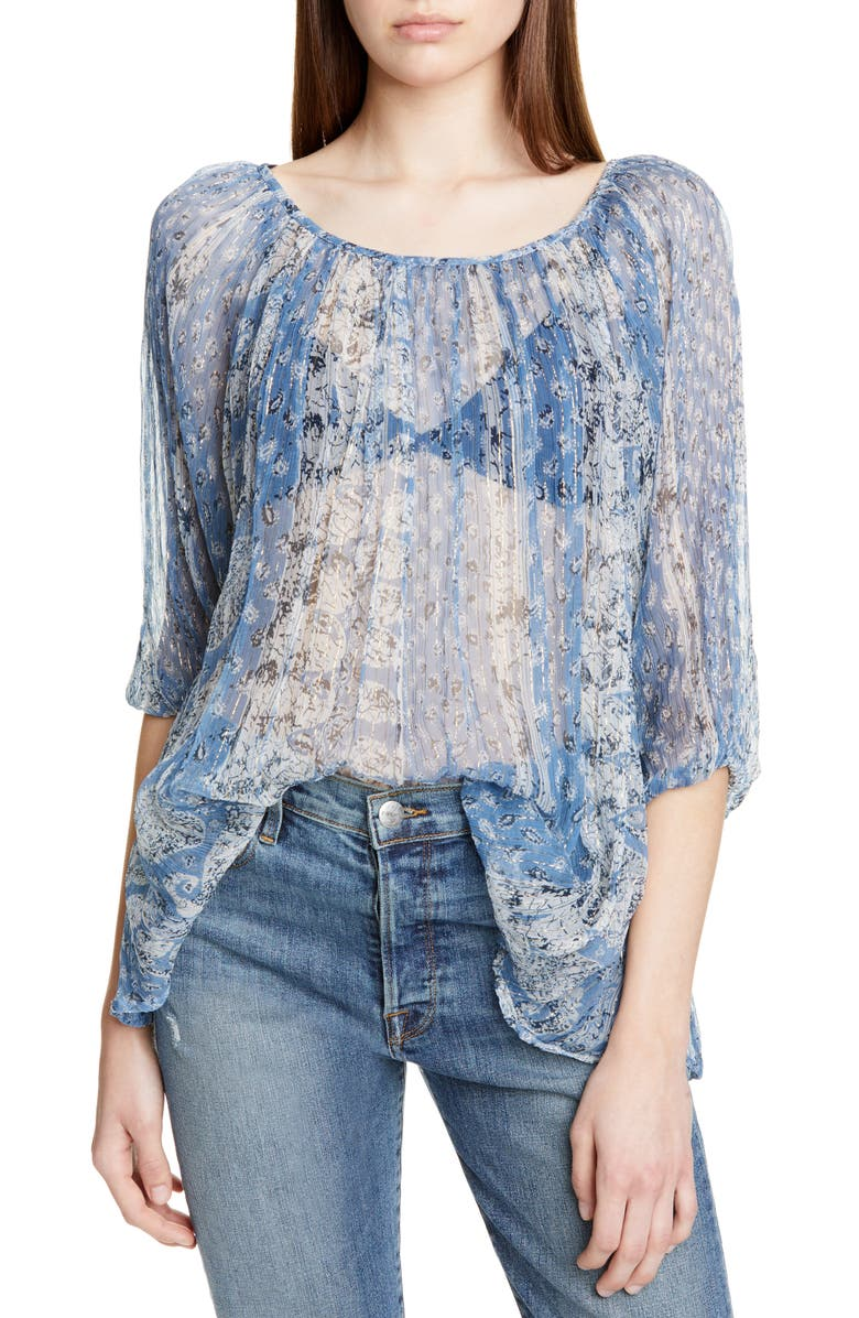 MES DEMOISELLES Bonnie Metallic Detail Sheer Peasant Top, Main, color, 400