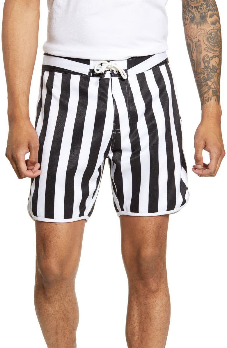 GOODLIFE Slim Fit Scallop Stripe Board Shorts, Main, color, BLACK