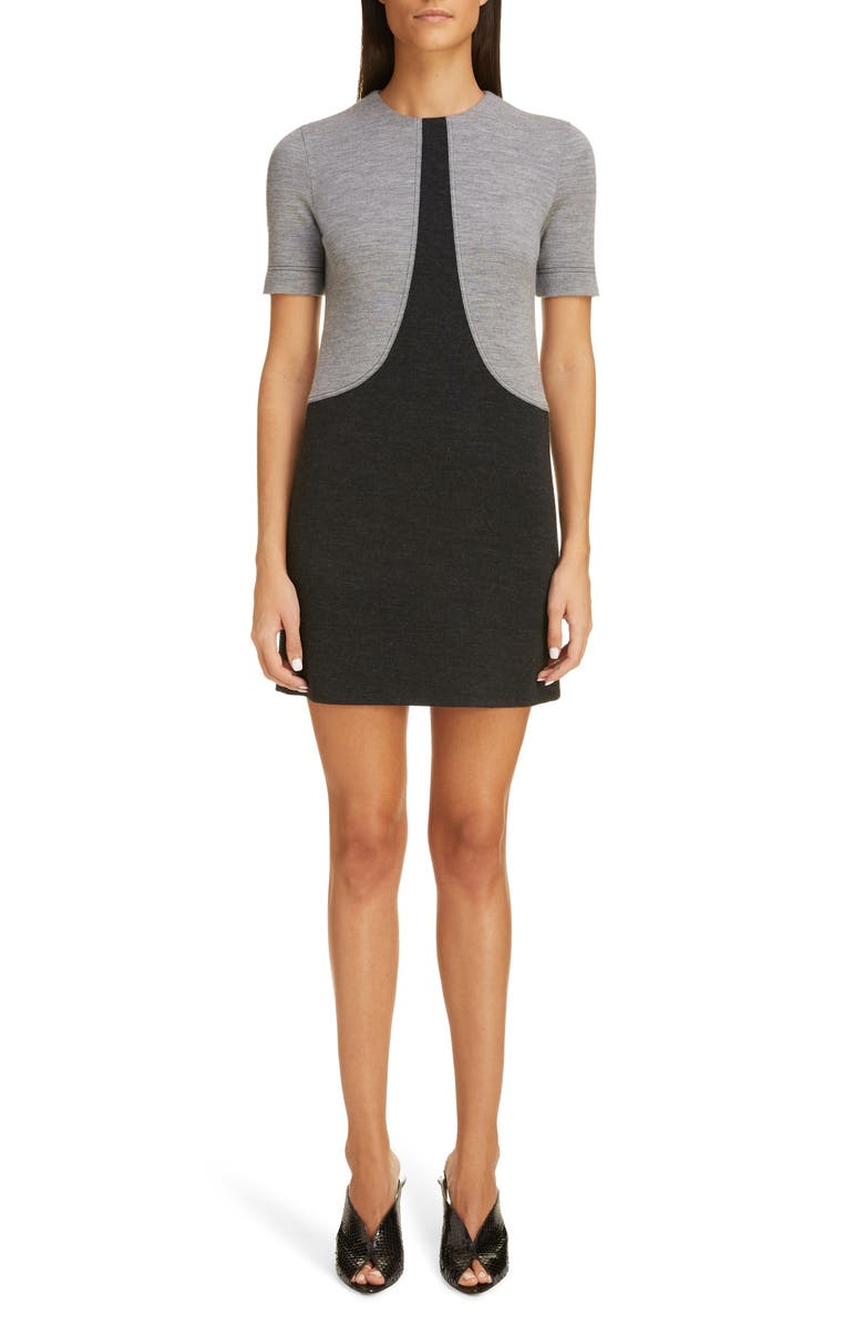 GIVENCHY Colorblock Wool Jersey Shift, Main, color, HEATHER GRAY