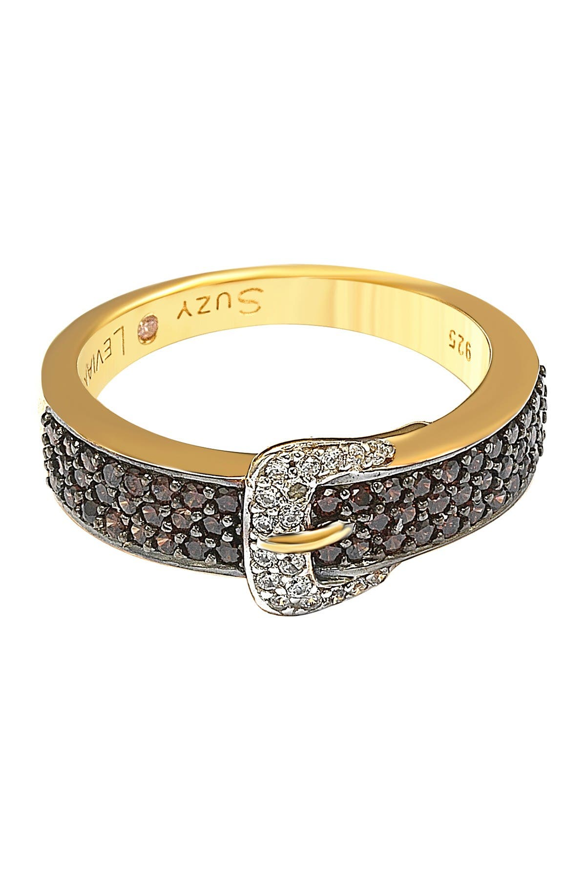 Image of Suzy Levian Gold-Tone Sterling Silver CZ Brown Buckle Ring