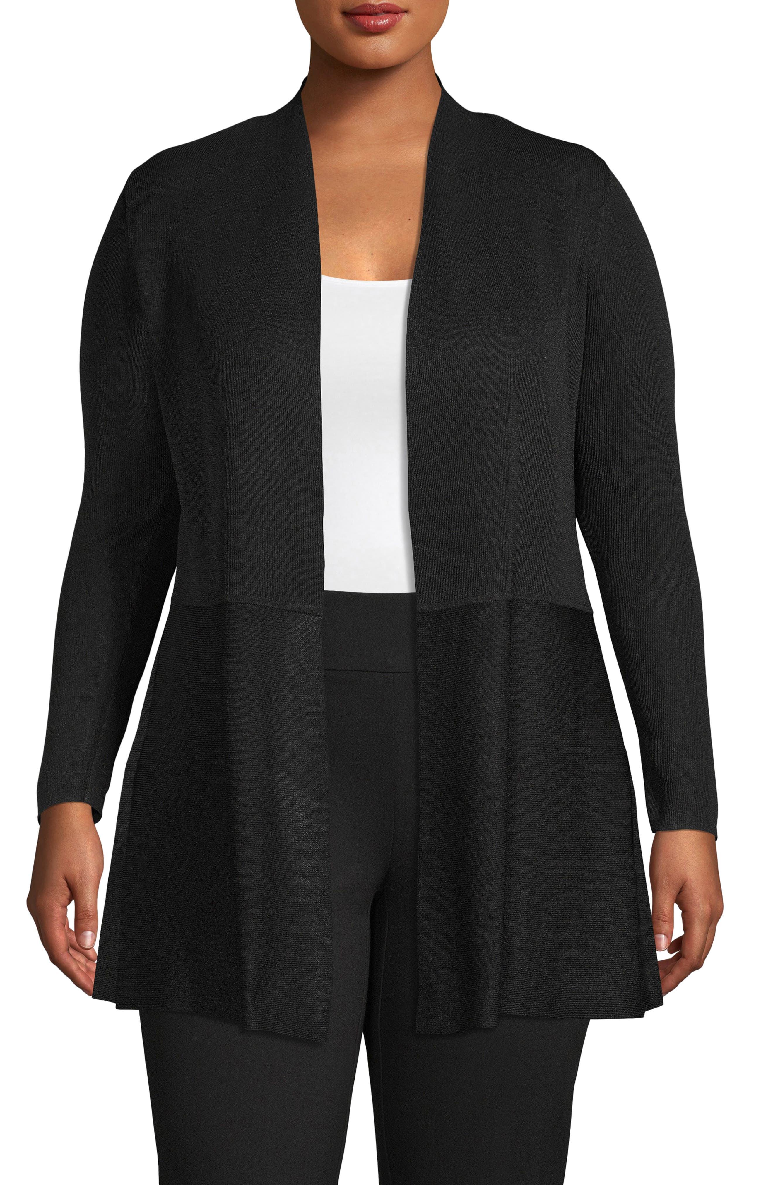 Seamed Open Front Cardigan