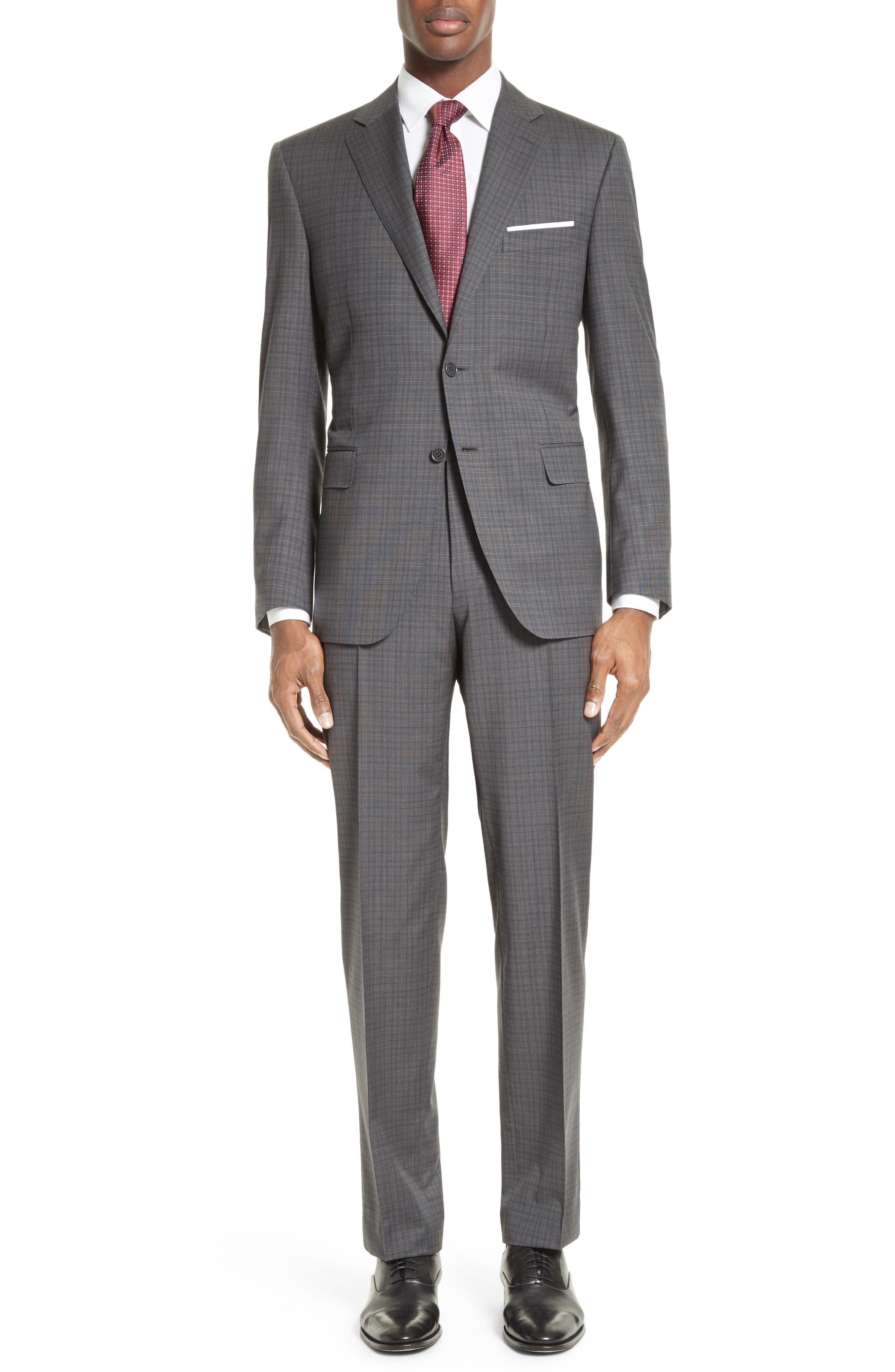 ,                             Classic Fit Check Wool Suit,                             Main thumbnail 1, color,                             GREY