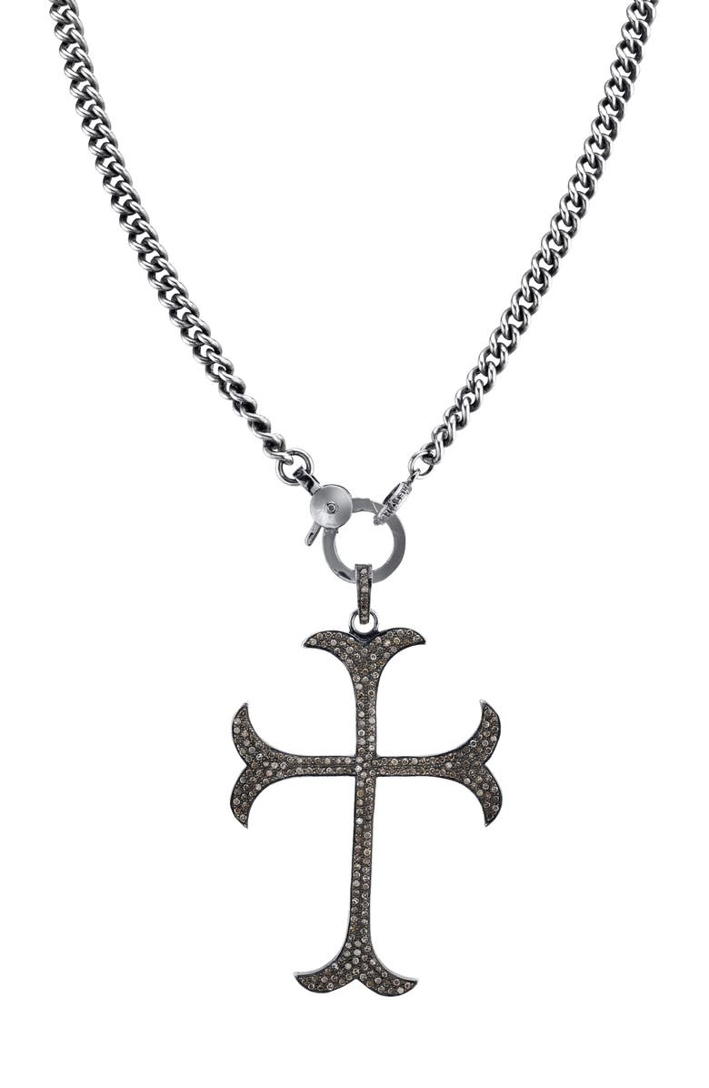 SHERYL LOWE Gothic Cross Diamond Pendant Necklace, Main, color, STERLING SILVER