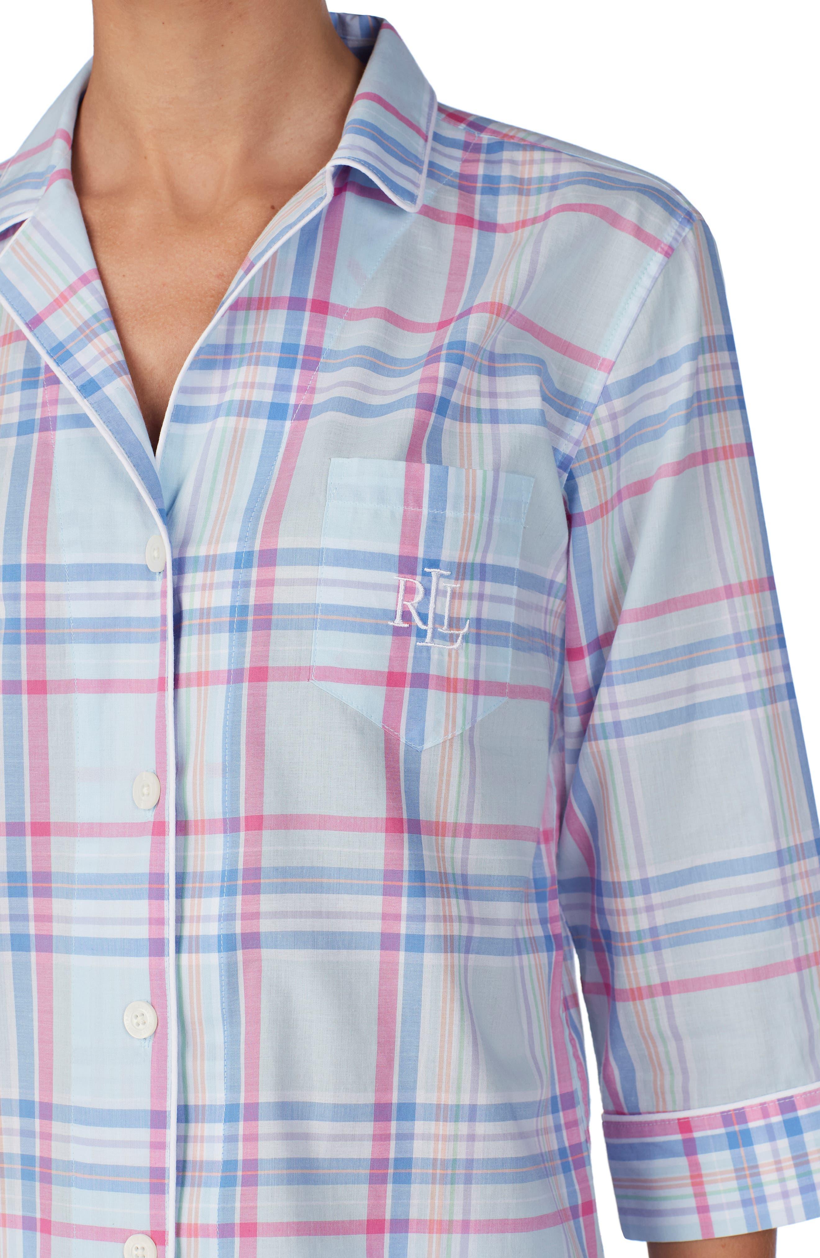 ,                             Capri Pajamas,                             Alternate thumbnail 3, color,                             BLUE PLAID