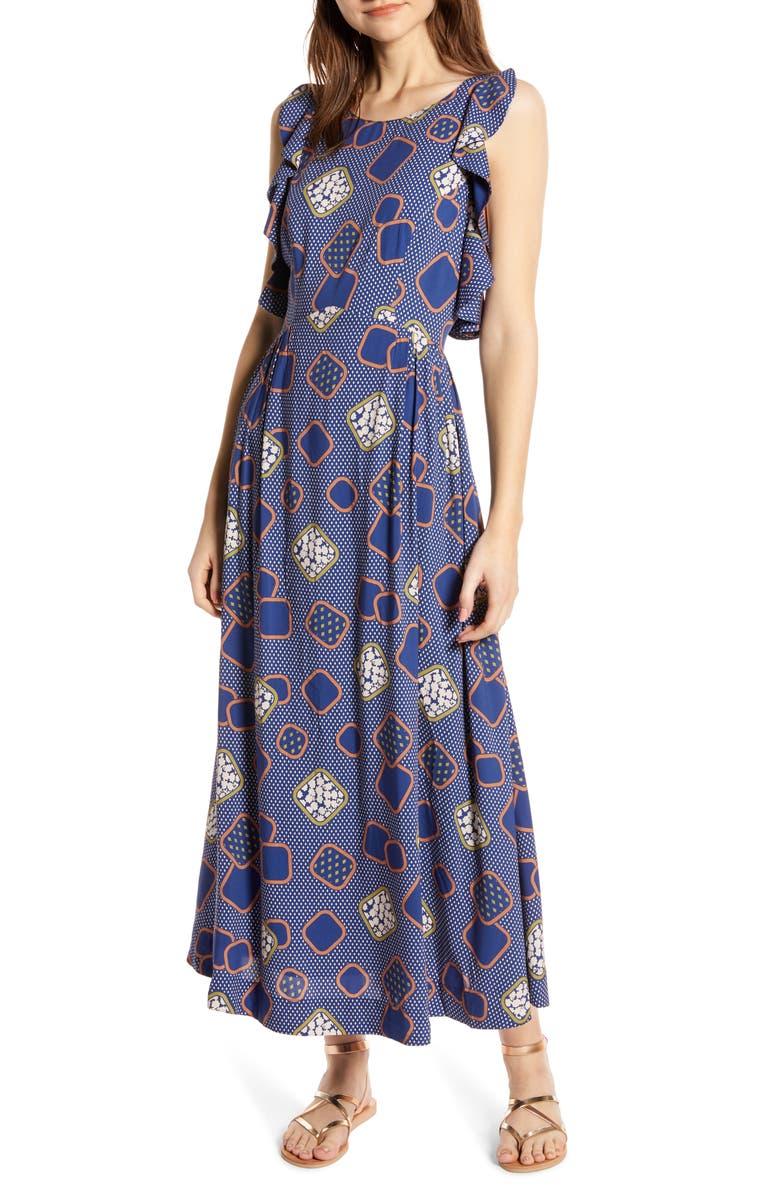 THE ODELLS Ruffle Trim Maxi Dress, Main, color, BARI