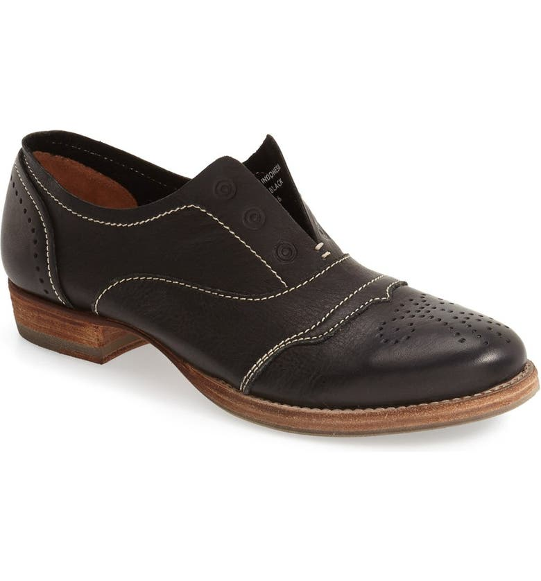 BLACKSTONE 'HL55' Slip-On Oxford, Main, color, BLACK LEATHER