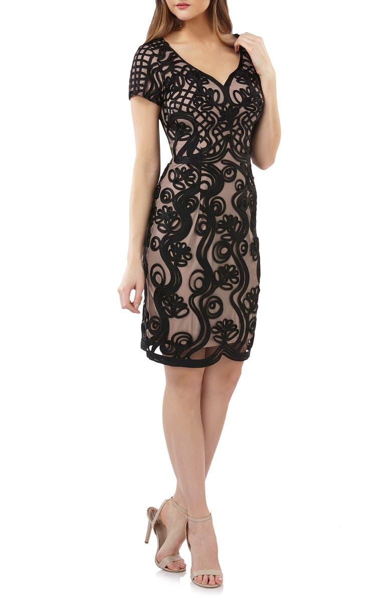 JS COLLECTIONS Soutache Mesh Sheath Dress, Main, color, 001