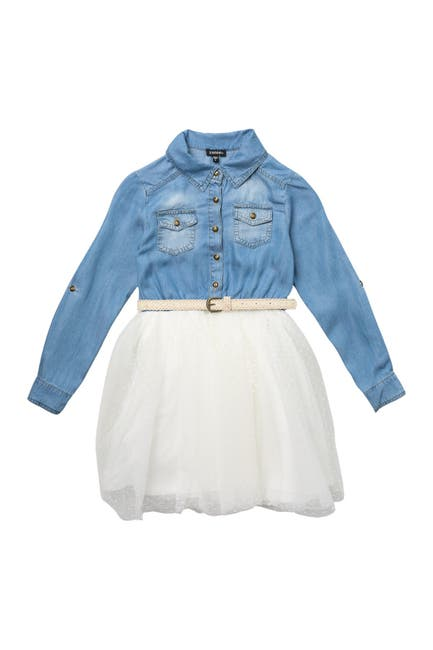 Image of Zunie Denim & Tulle Shirt Dress
