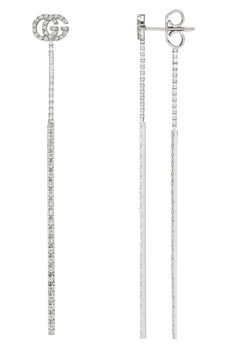 GUCCI Double-G Diamond Pendant Drop Earrings, Main, color, WHITE GOLD
