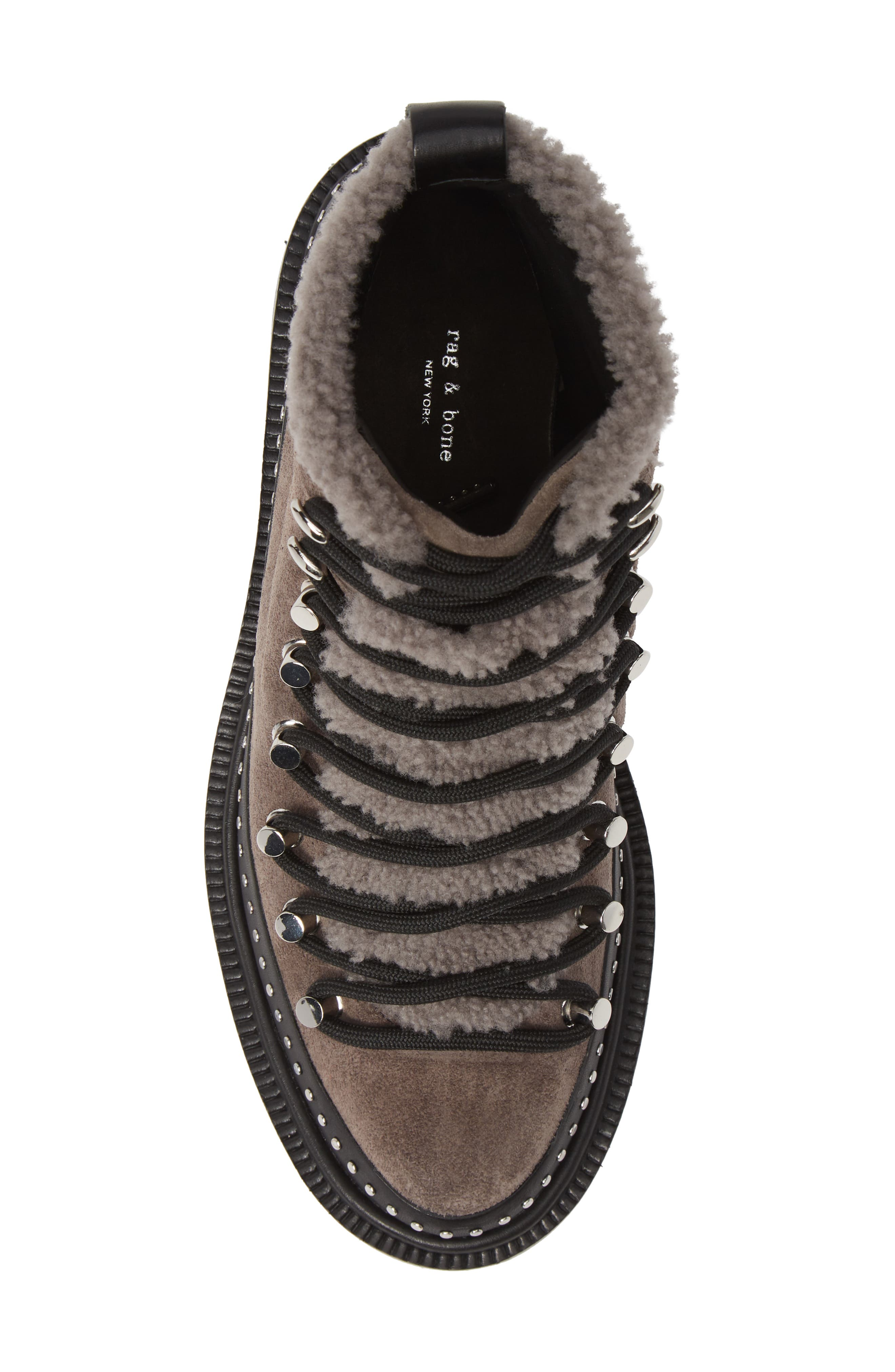 ,                             Compass Genuine Shearling Combat Boot,                             Alternate thumbnail 5, color,                             ELEPHANT SUEDE