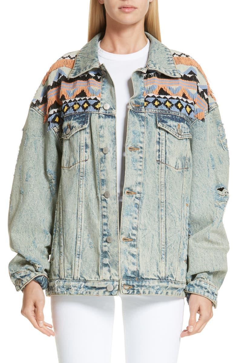 ALCHEMIST Indiana Beaded Fringe Denim Jacket, Main, color, 400