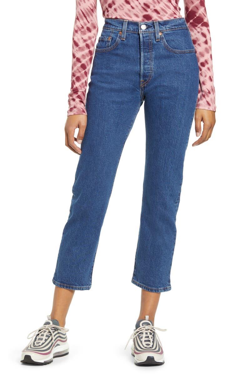 LEVI'S<SUP>®</SUP> 501 High Waist Crop Straight Leg Jeans, Main, color, 450