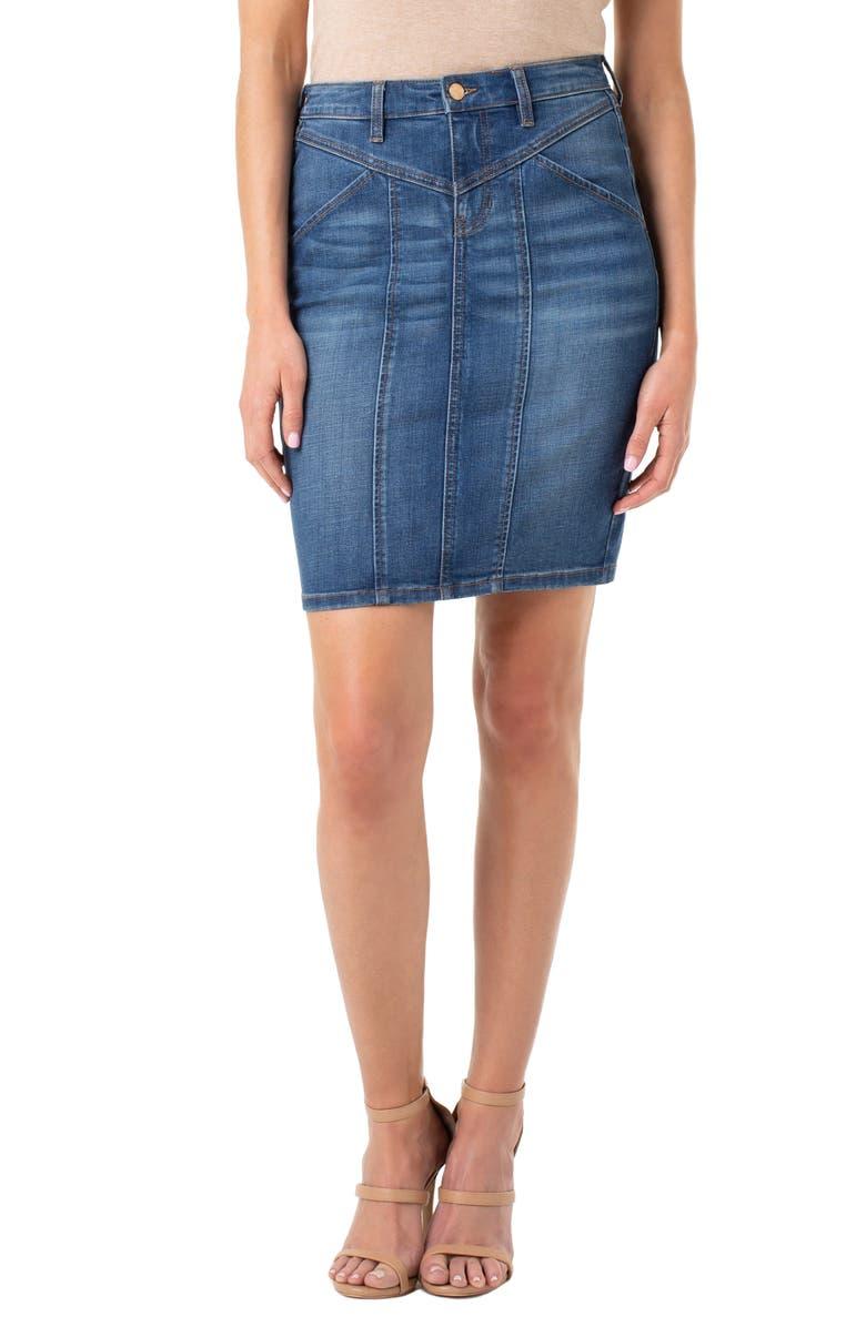 LIVERPOOL Denim Skirt, Main, color, HOLLY