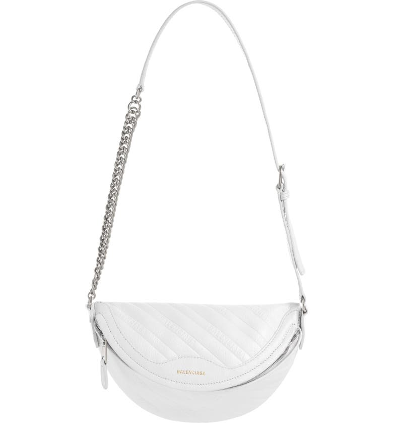 BALENCIAGA Extra Small Souvenir Leather Belt Bag, Main, color, WHITE