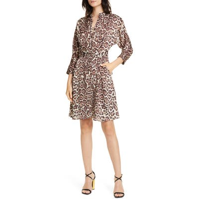 Equipment Adalicia Long Sleeve Front Button Dress, Brown
