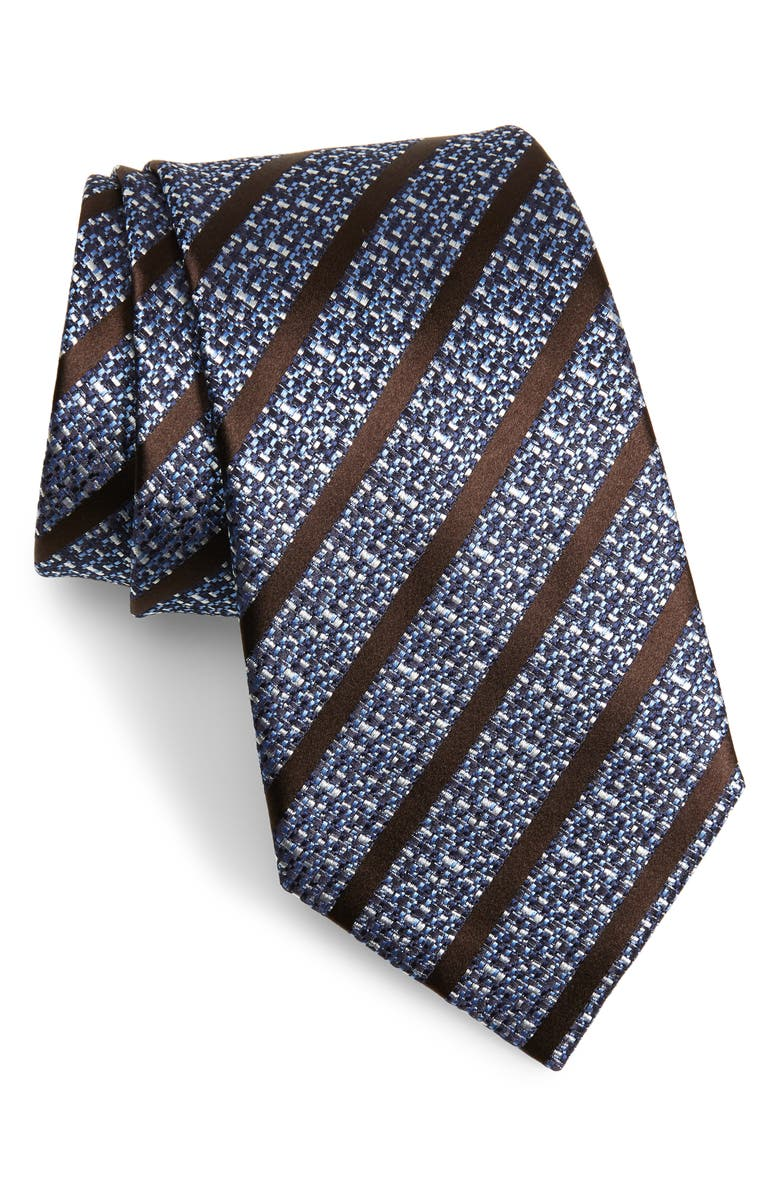 ERMENEGILDO ZEGNA Stripe Silk Tie, Main, color, BRIGHT BLUE STRIPE