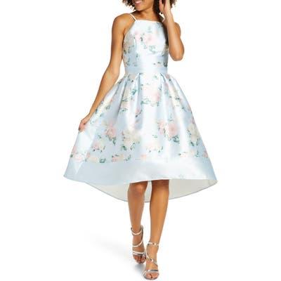 Chi Chi London Tallie Floral Satin Cocktail Dress, Blue
