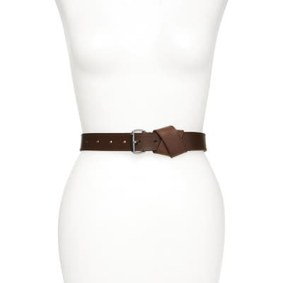 Allsaints Twisted Loop Leather Belt, Bitter Brown