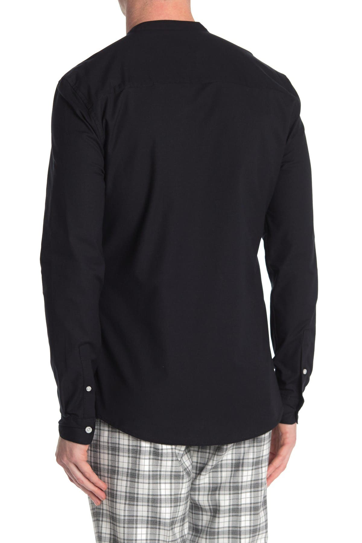 Image of TOPMAN Solid Mandarin Collar Shirt