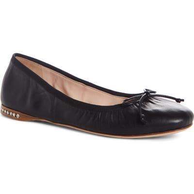 Miu Miu Bow Ballerina Flat, Black
