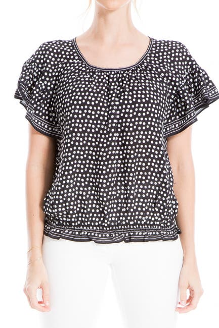 Image of Max Studio Printed Flutter Sleeve Peasant Top