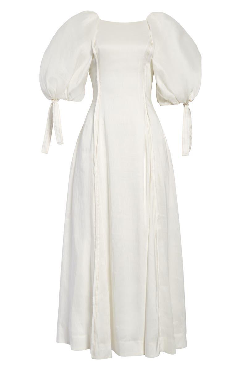 AJE Overture Laced Back Linen & Silk Dress, Main, color, WHITE