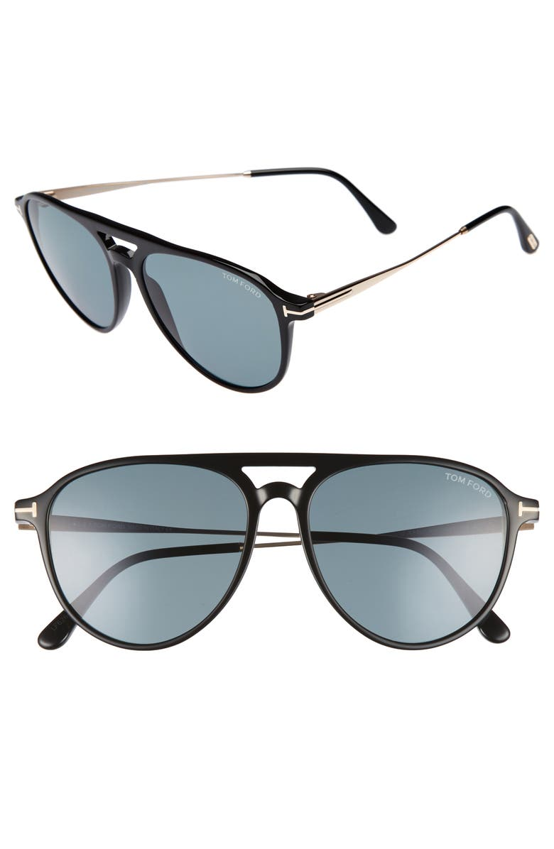 TOM FORD Carlo 59mm Aviator Sunglasses, Main, color, 001