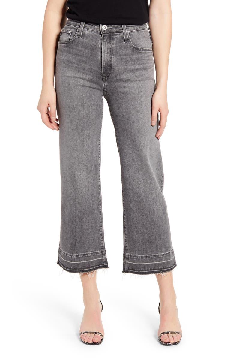 AG Etta High Waist Raw Released Hem Crop Wide Leg Jeans, Main, color, 023