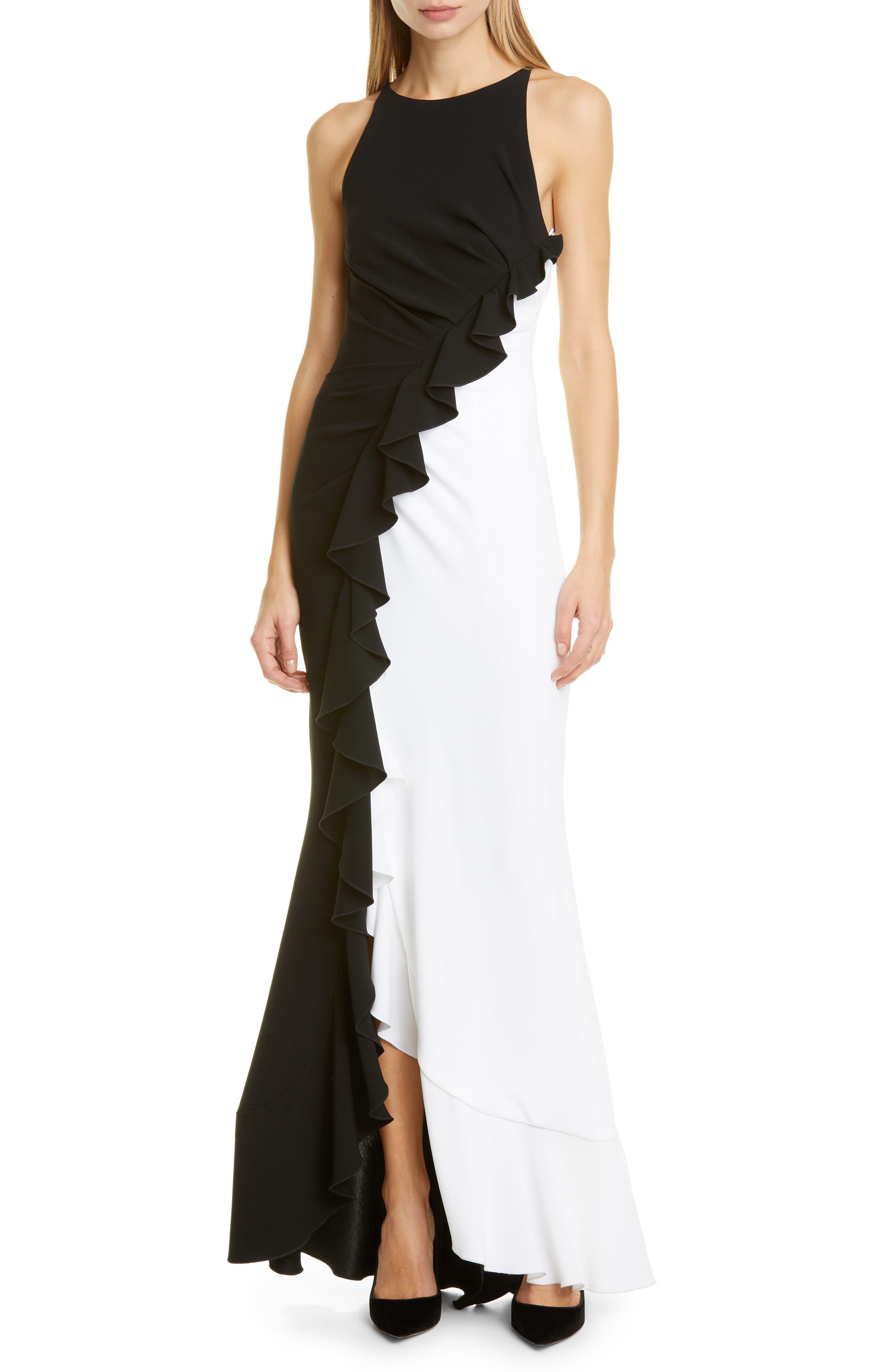 Image of Talbot Runhof Ruffle Bi-Color Gown