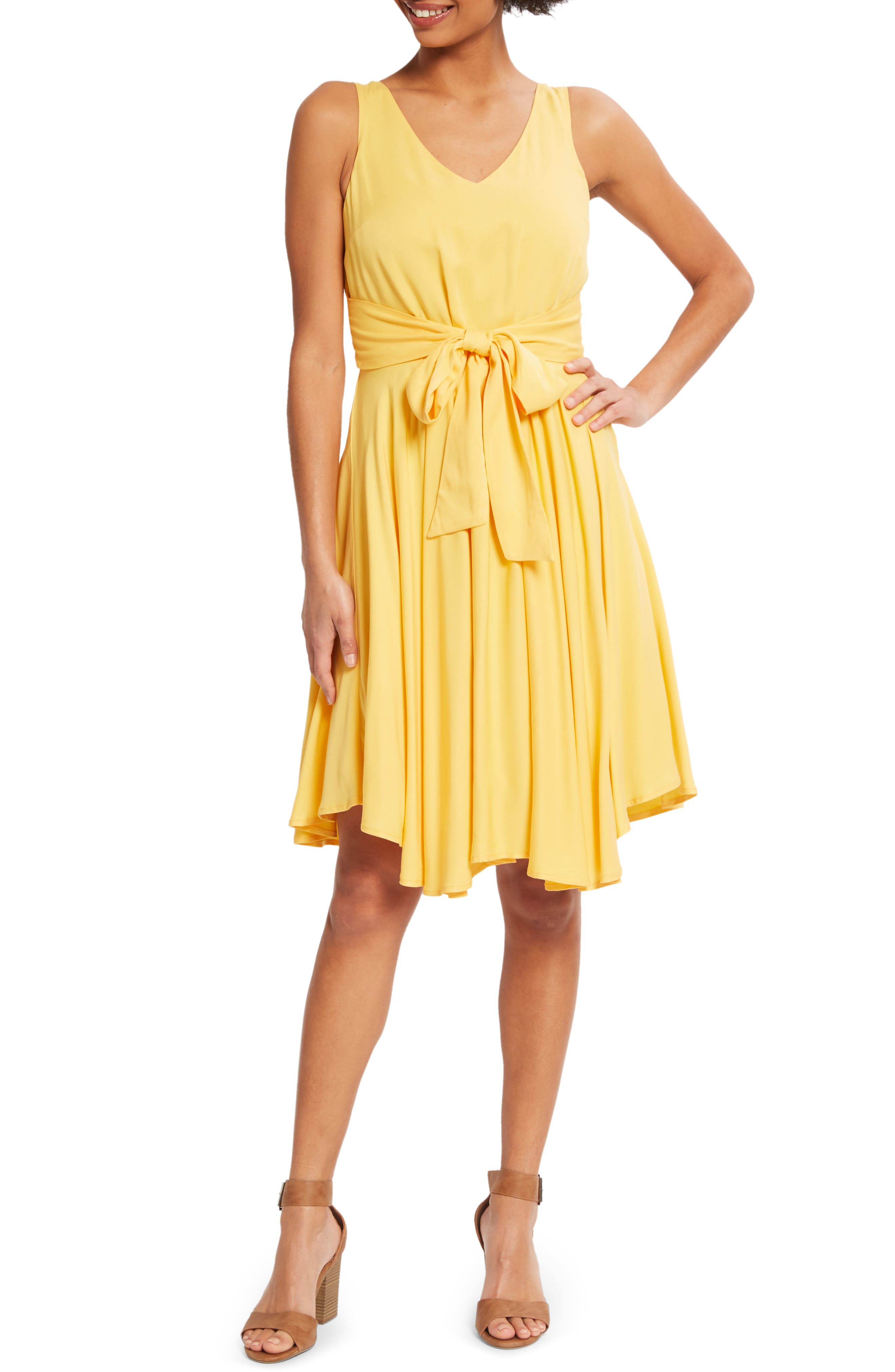 Modcloth Sleeveless Pleated Tank Dress, Yellow