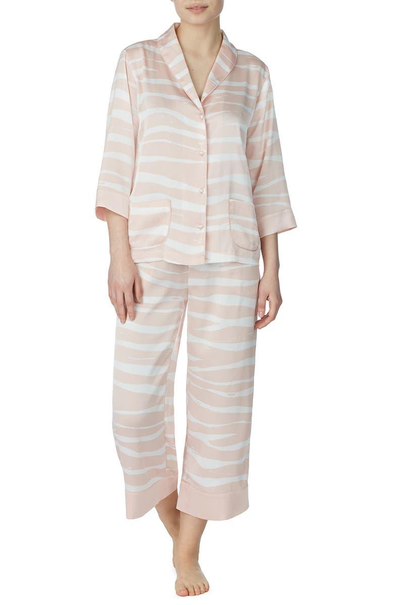 KATE SPADE NEW YORK pastel zebra crop pajamas, Main, color, PASTEL ZEBRA