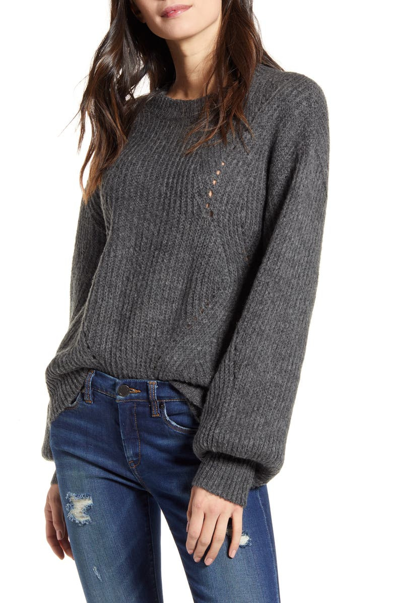 BP. Chunky Pointelle Sweater, Main, color, GREY DARK CHARCOAL HEATHER