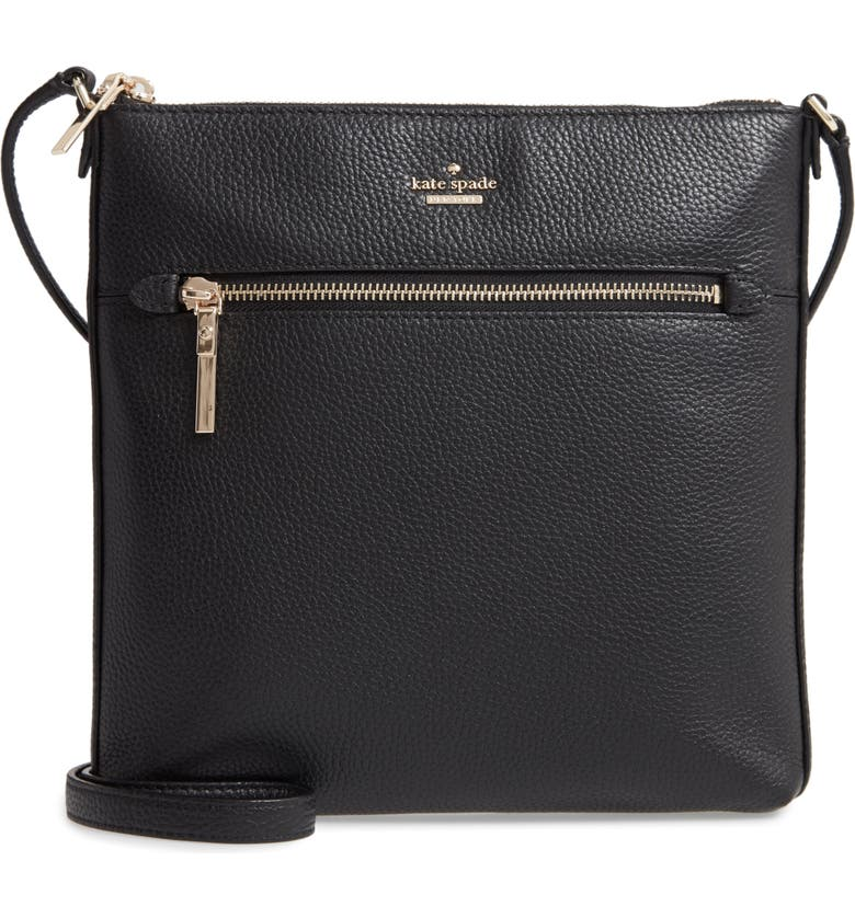 KATE SPADE NEW YORK large shirley leather crossbody bag, Main, color, BLACK