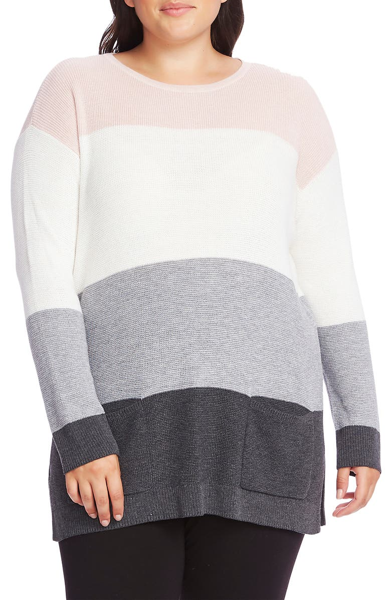 VINCE CAMUTO Colorblock Pocket Sweater, Main, color, SOFT PINK