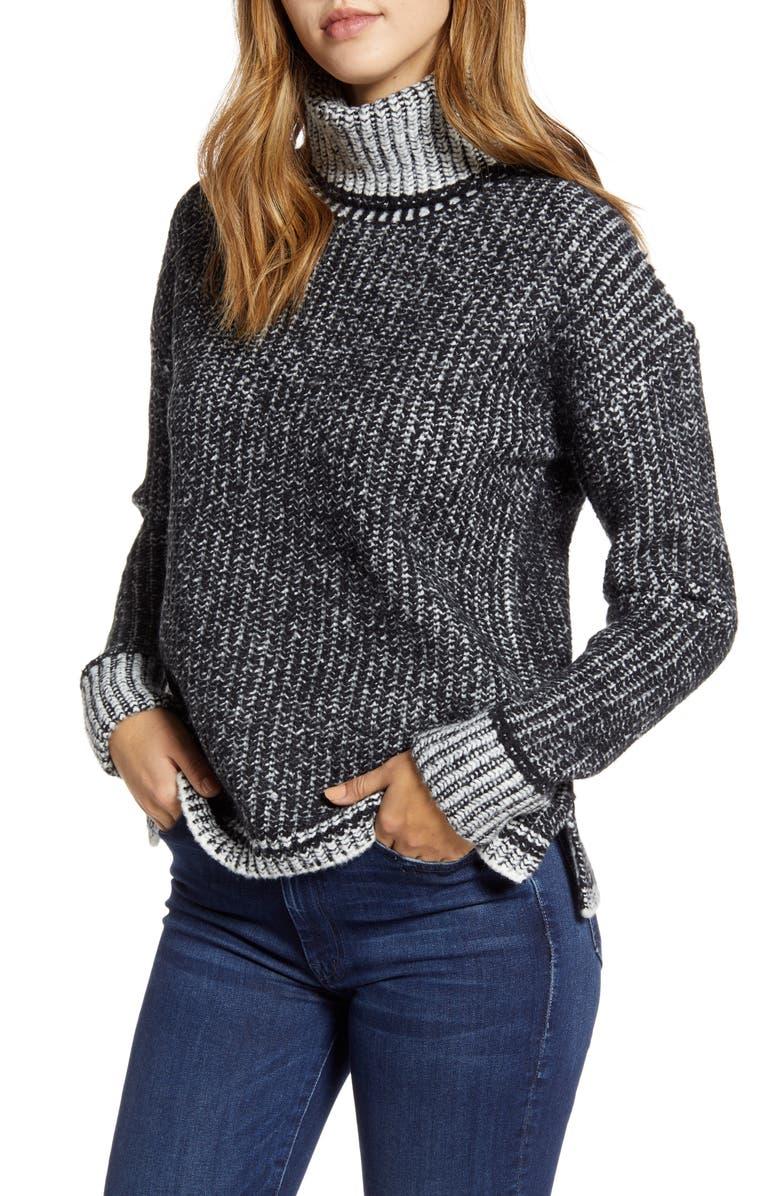 CASLON<SUP>®</SUP> Turtleneck Sweater, Main, color, 001
