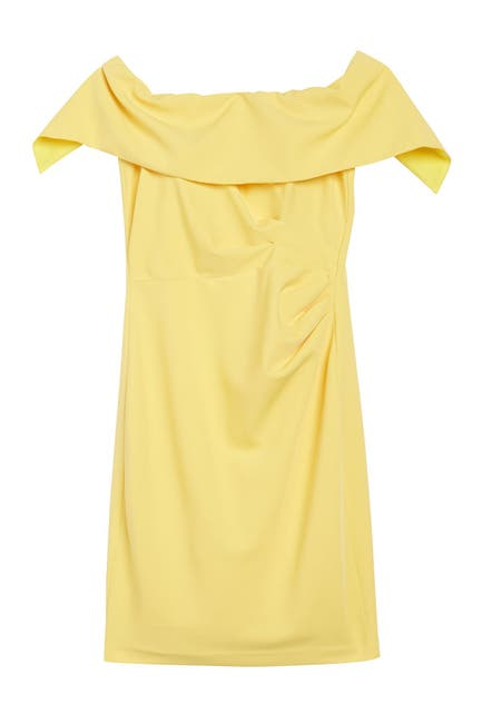Image of Marina Off-the-Shoulder Popover Ruched Sheath Dress