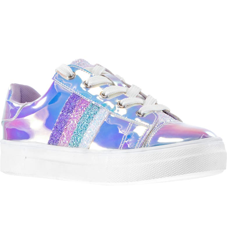 NINA Glitter Stripe Iridescent Sneaker, Main, color, SILVER IRIDESCENT