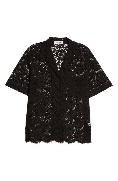 Valentino LACE BUTTON-UP CAMP SHIRT