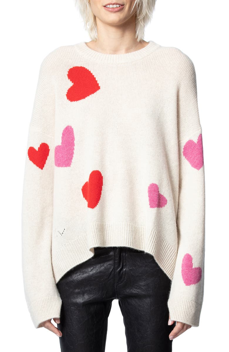 ZADIG & VOLTAIRE Markus C Heart Pattern Cashmere Sweater, Main, color, CRAIE
