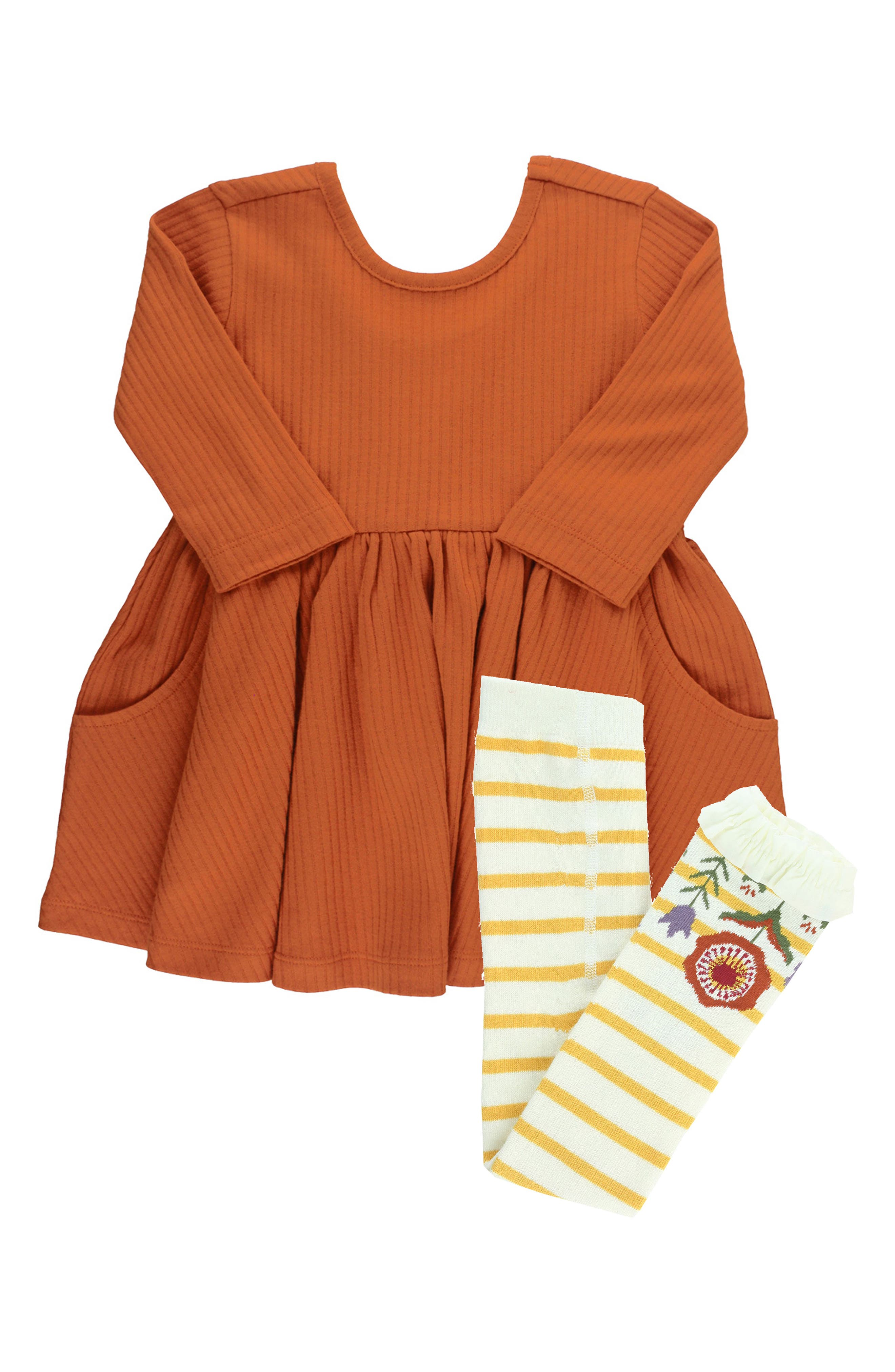 A perfect bow details the back of a ribbed cotton dress that pairs charmingly with soft, stretchy knit tights trimmed with sweet ruffles. Style Name: Rufflebutts Orange Spice Ribbed Twirl Dress & Tights Set (Baby). Style Number: 6118808. Available in stores.