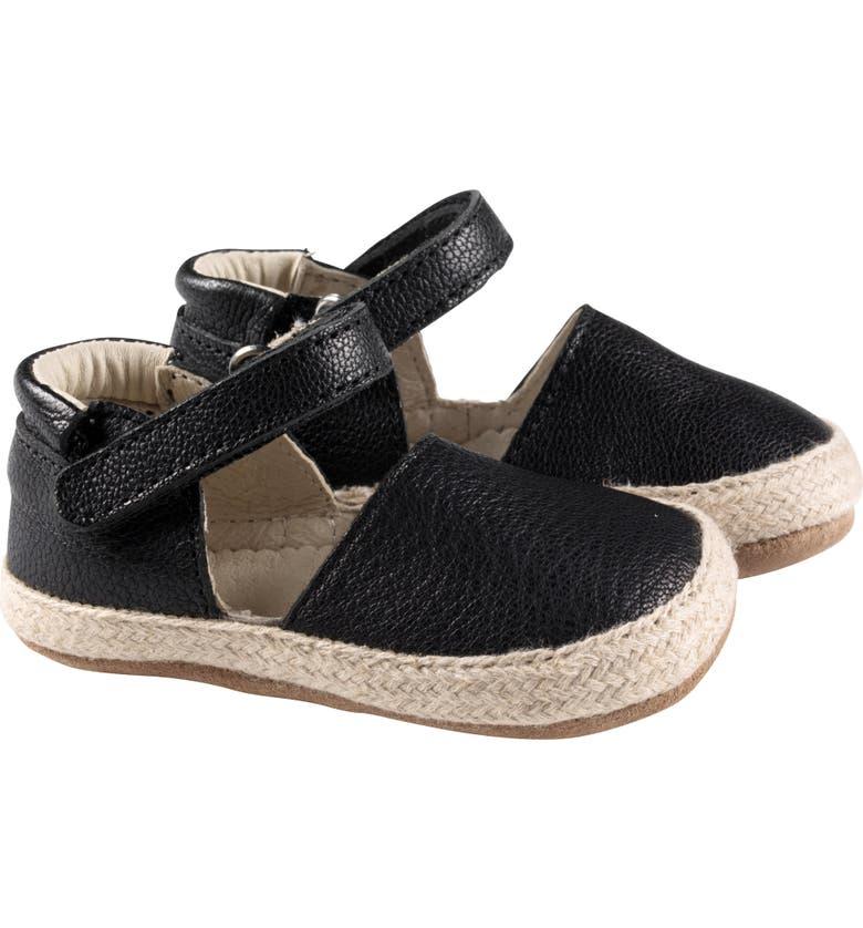 ROBEEZ<SUP>®</SUP> Kelly Espadrille Crib Sandal, Main, color, BLACK