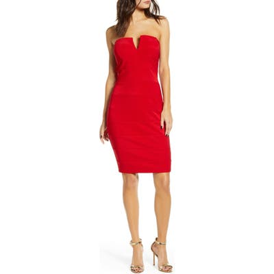 Love, Nickie Lew Strapless Body-Con Dress, Red