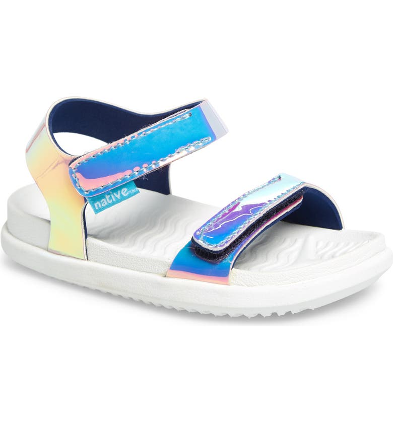 NATIVE SHOES Charley Holographic Strappy Sandal, Main, color, PINK HOLOGRAM/ SHELL WHITE