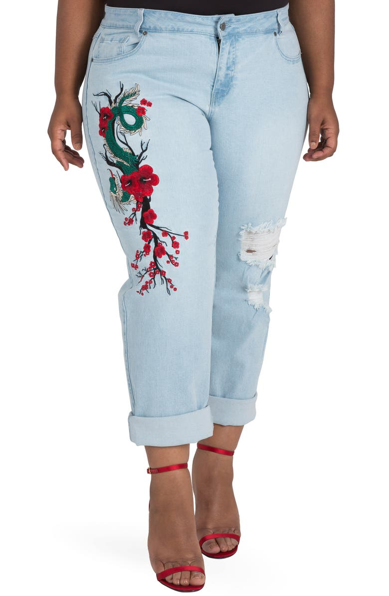 POETIC JUSTICE Halle Embroidered Jeans, Main, color, MEDIUM BLUE