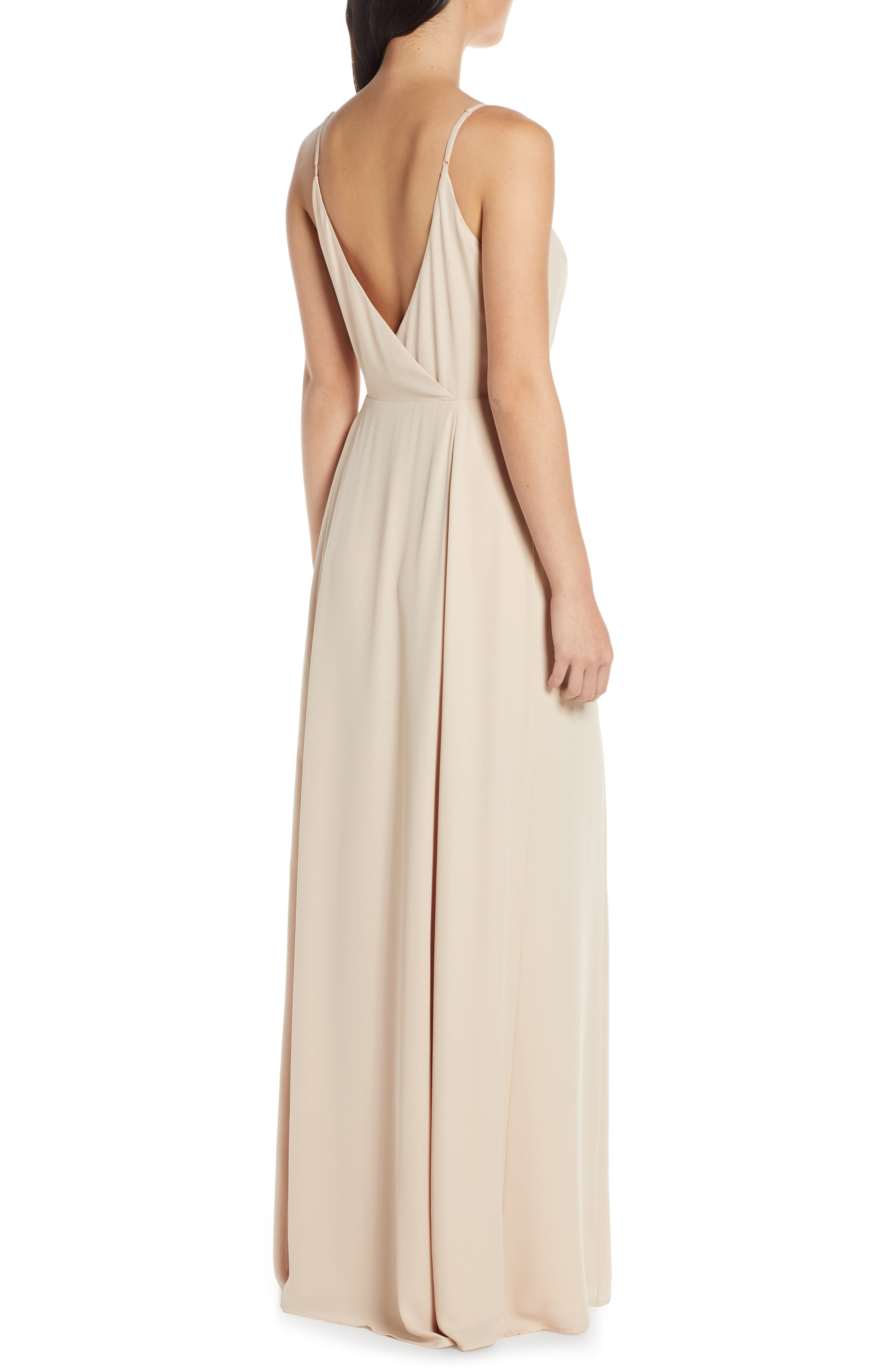 ,                             The Angelina Slit Wrap Gown,                             Alternate thumbnail 2, color,                             CHAMPAGNE